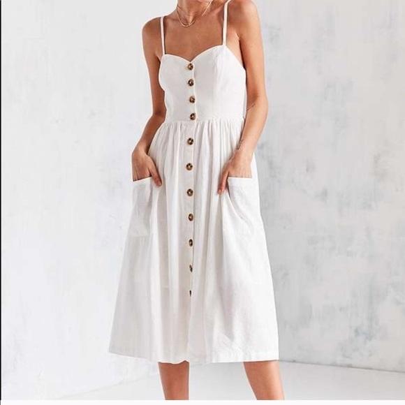 89d85bcb114e Urban Outfitters Dresses | Cooperative White Button Down Midi Dress ...